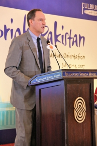 American Embassy Chargé d'Affaires Jonathan Pratt congratulated the outgoing Pakistani students and scholars on receiving the prestigious Fulbright scholarship to pursue advanced studies and research in the United States.