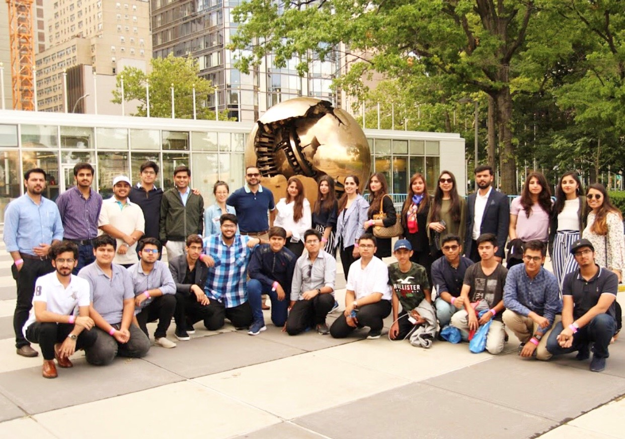 Students, counselors and advisers at the U.N. headquarters in NY