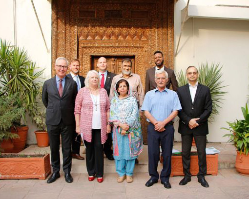 USEFP's Board of Directors (front row: from left to right) Christopher Fitzgerald, Rita Akhtar, Nighat Mehroze Chisti, Dr. Shah Jehan Khan, and Mr. Hasan Nasir Jamy. (Back row: from left to right) Dr. Christopher Steele, Matthew Singer, Syed Abu Ahmed Akif, Anthony Jones.