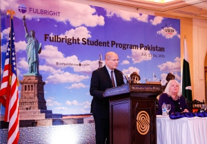 U.S. Embassy Islamabad Chargé d'Affaires a.i. John Hoover congratulating the grantees on their achievement