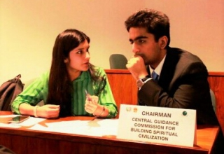 Taken at Model United Nations conference, Khizrah is in discussion with fellow delegate to see if a consensus can be reached on the topic proposed by the committee. Model UN public speaking were my primary extra-curricular activities through her O and A levels.
