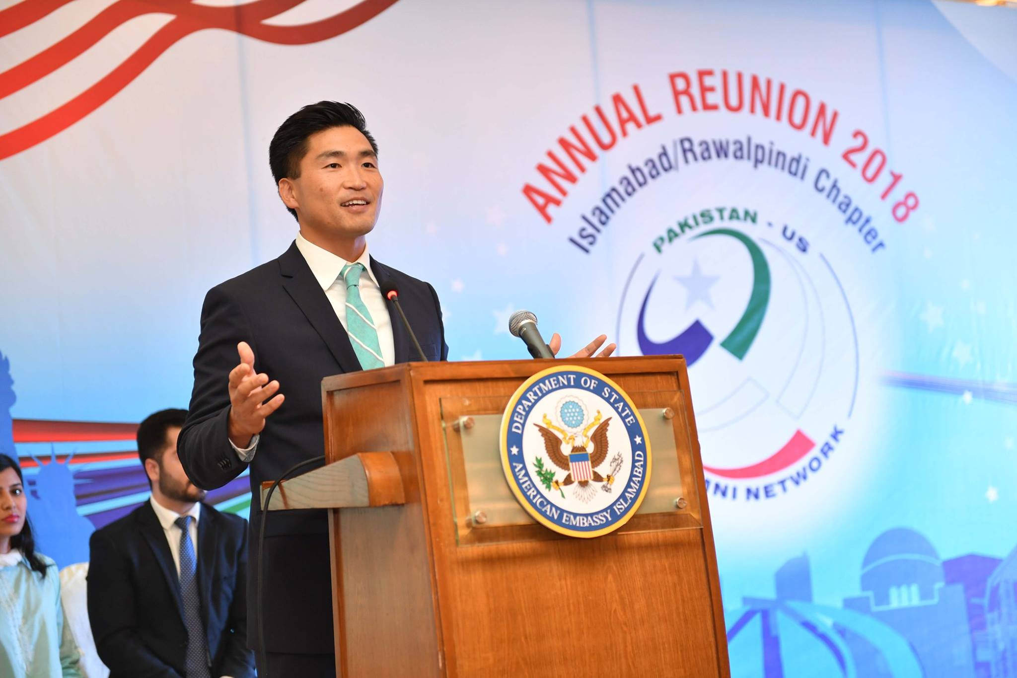 U.S. Public Diplomacy Officer, Yoon Nam, addressing the participants of the Islamabad reunion