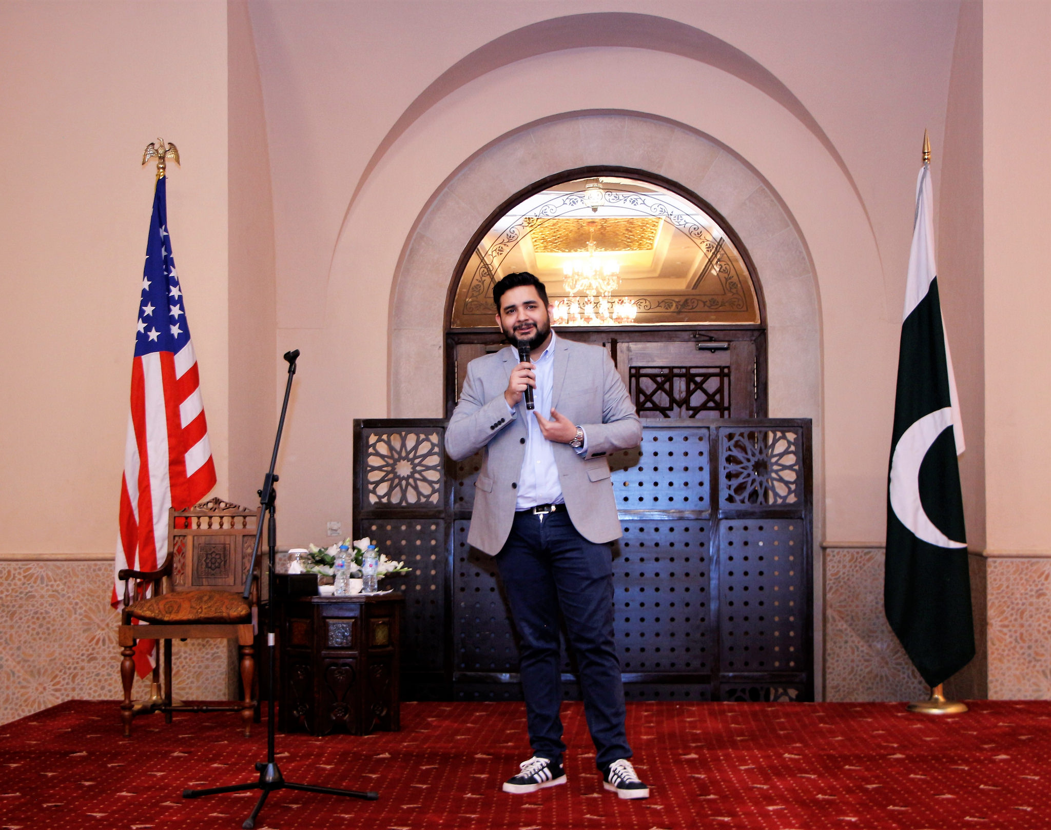 Fulbright alumus, Shehzad Ghias solicited many laughs through his stand-up routine