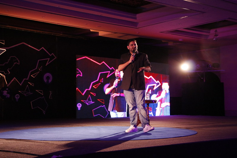 Alumnus Shehzad Ghias keep the audience entertained during his stand-up
