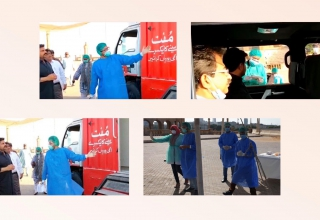Dr. Muhammad Moiz helping set up Pakistan's first drive-thru Coronavirus testing lab