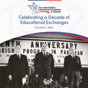 Former President of Pakistan Mohammad Ayub Khan and Deputy Chief of Mission (DCM) American Embassy, William O. Hall at teh 10th anniversary of USEFP