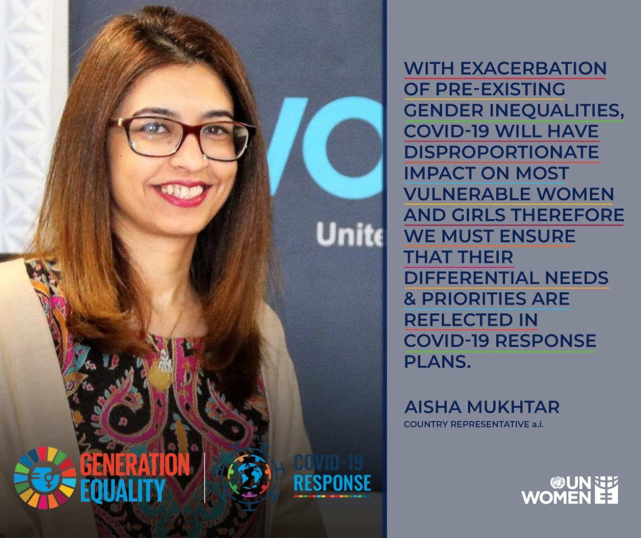 Ayesha Mukhtar has been working to integrate gender in preparedness and response plans towards Covid-19