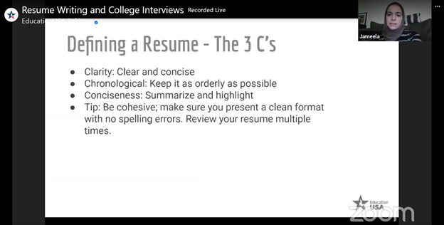 Online session with Kent University on resume writing and college interviews