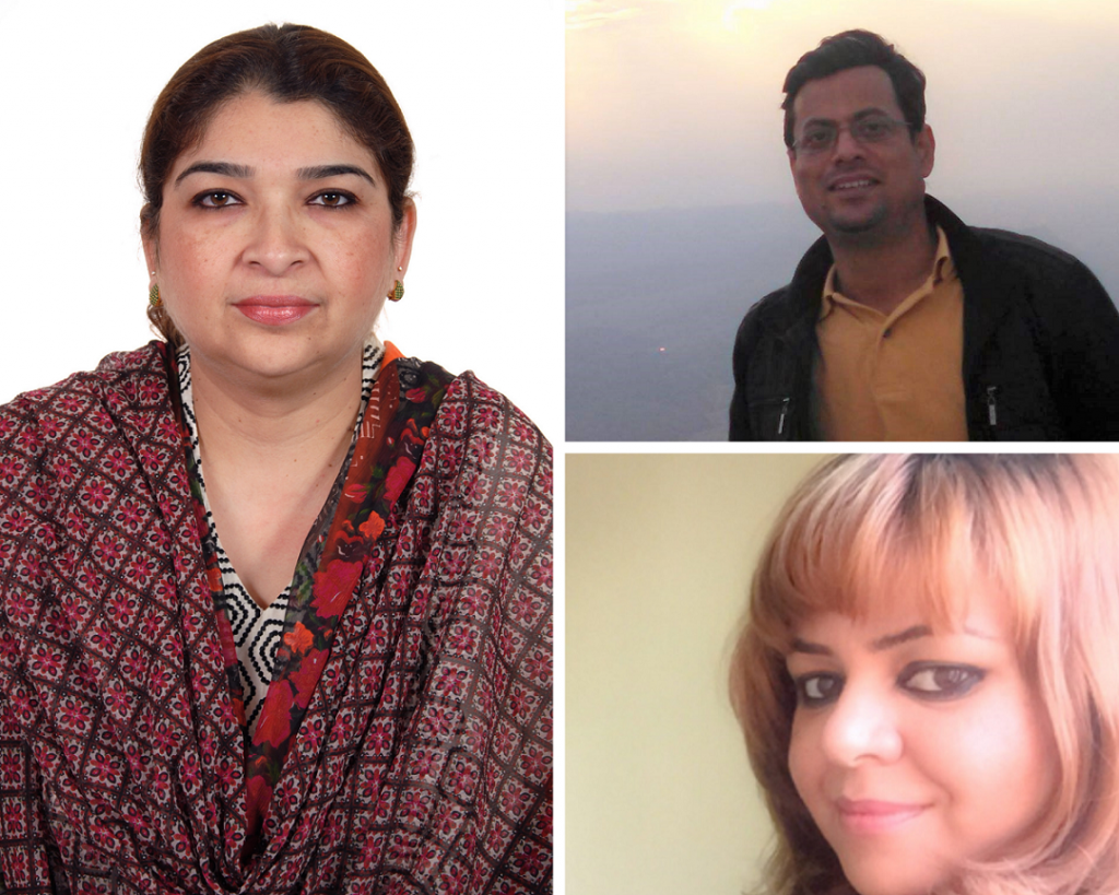 Dr. Lubna Ayub (left), Mr. Rashid Masood Alam (top right), and Ms. Kanwal Ali (bottom right) are the new office bearers for HAAP.