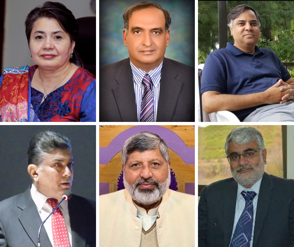 Top (left to right): Dr. Kanwal Ameen, Dr. Naveed Ahmad, and Dr. Syed Habib Bukhari. Bottom (left to right): Dr. Muhammad Jahanzeb Khan, Dr. Zahir Shah, and Dr. Shafiq Ur Rehman.